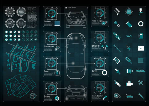 Infographics of freight transport and transportation.Template of automobile infographics. Abstract virtual graphic touch user interface. Cars diagnostic. vector art illustration