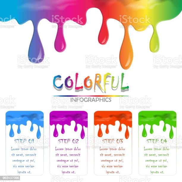 Infografika Farby Kolorowe Cieczy Płynącej I Kapie Na Białym Tle Izolować Z Kopią Miejsca - Stockowe grafiki wektorowe i więcej obrazów Grafika wektorowa
