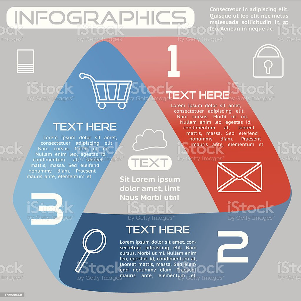 Infographics Options Infinite Ribbon Bright Three Choices EPS10 royalty-free stock vector art