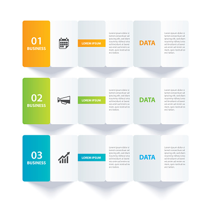Infographics paper index with 3 data template. Vector illustration abstract background. Can be used for workflow layout, business step, banner, web design.