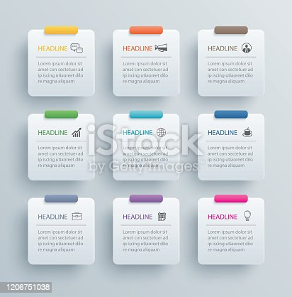 9 infographics rectangle paper index with data template. Vector illustration abstract background. Can be used for workflow layout, business step, banner, web design.