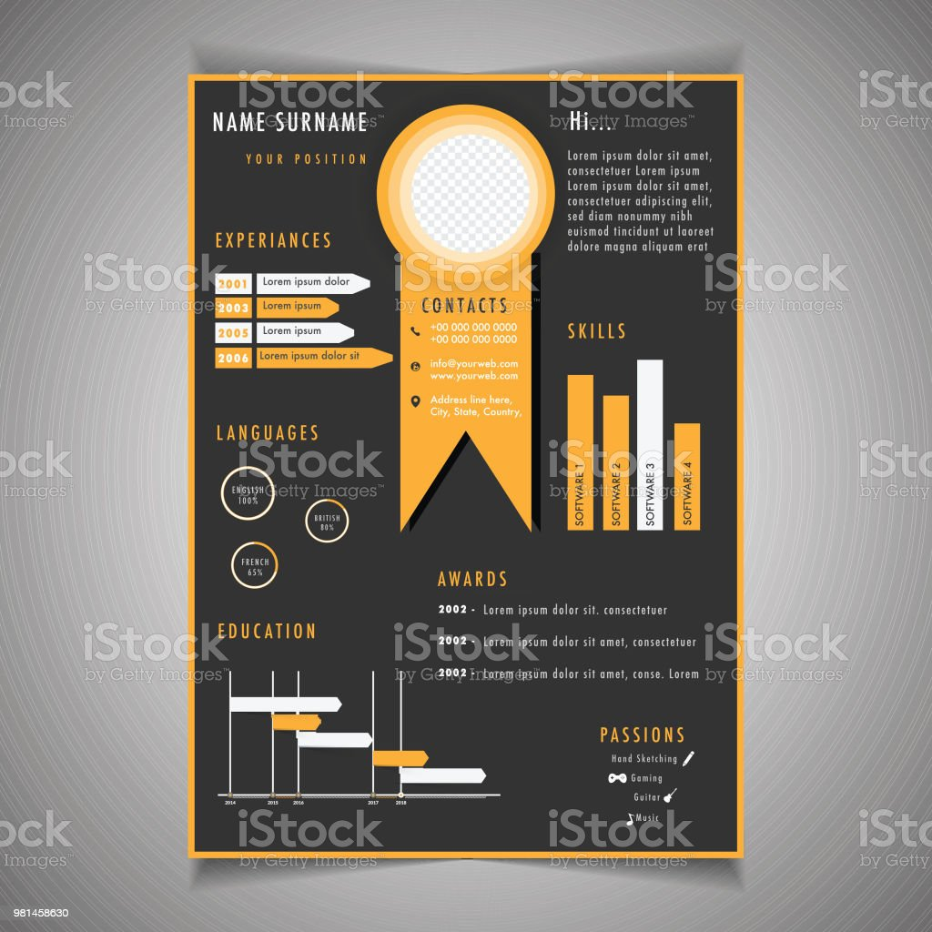 Infographics Resume Template Can Be Use As Letterhead Or Cover