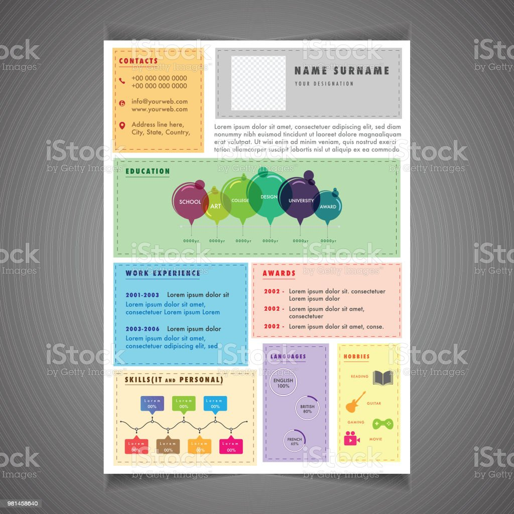 Infographics Resume Template Can Be Use As Letterhead Or Cover ...