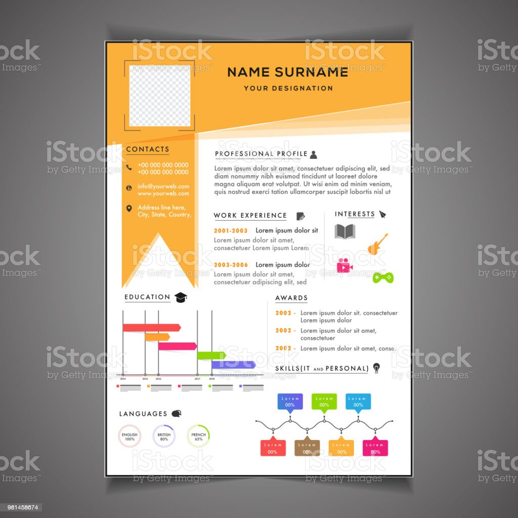infographics resume template can be use as letterhead or cover letter professional cv design with