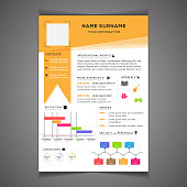 Infographics resume template can be use as letterhead or cover letter. Professional CV design with placeholder.