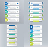 Infographics set. Creative business and marketing concept with 5 options.