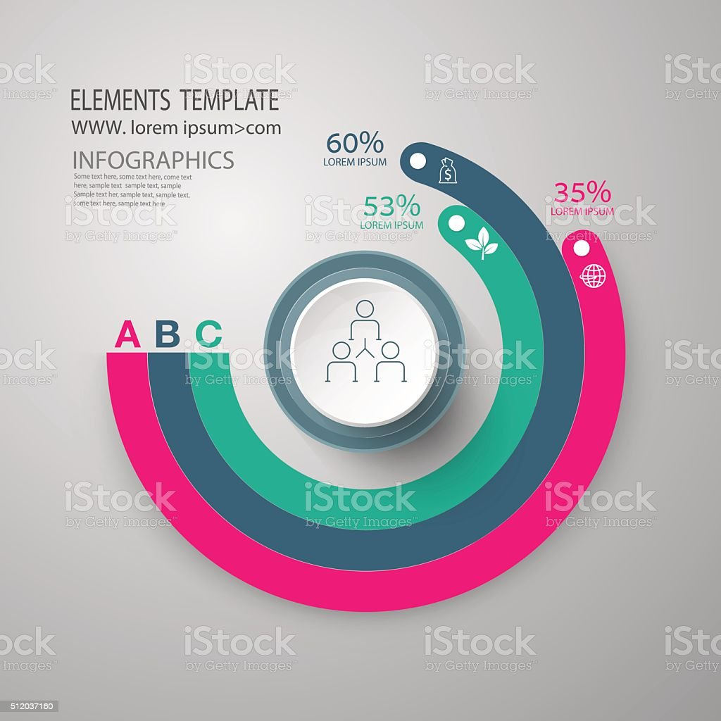 infographics set. presentation and round chart. Business. vector art illustration