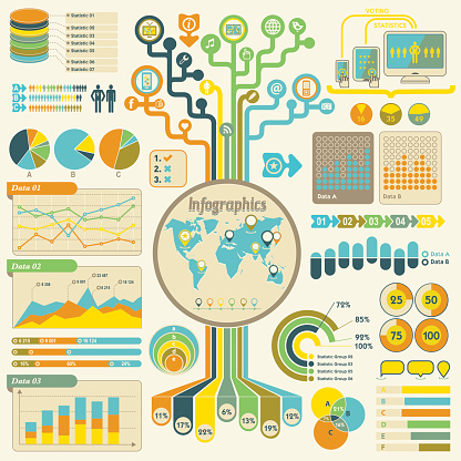 Infographics set - global communication technology, voting, statistics. Retro style. Lots of icons.