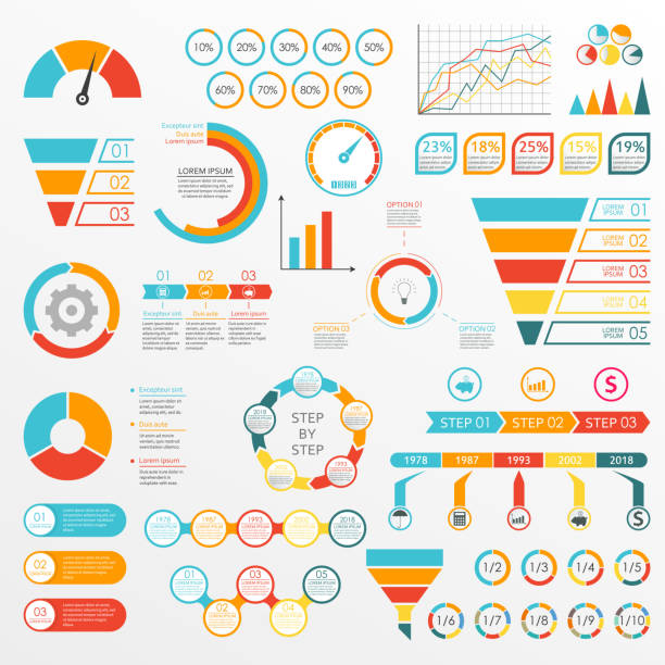 Infographics set with charts, graphs, funnel, arrows, diagram, gauge, speedometer. Circle chart with percentage and pie chart with segments. Vector illustration. Infographics set with charts, graphs, funnel, arrows, diagram, gauge, speedometer. Circle chart with percentage and pie chart with segments. Vector illustration. machine part stock illustrations