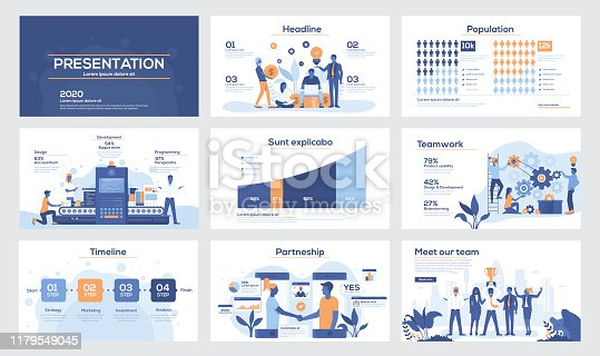 Presentation slide templates and business brochures. Set of modern minimalistic infographic elements for web, print, magazine, flyer, brochure, media, marketing and advertising concepts. Vector Illustration