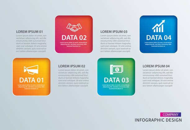 Bекторная иллюстрация Infographics square paper with 4 data template. Vector illustration abstract background. Can be used for workflow layout, business step, tag, banner, web design.