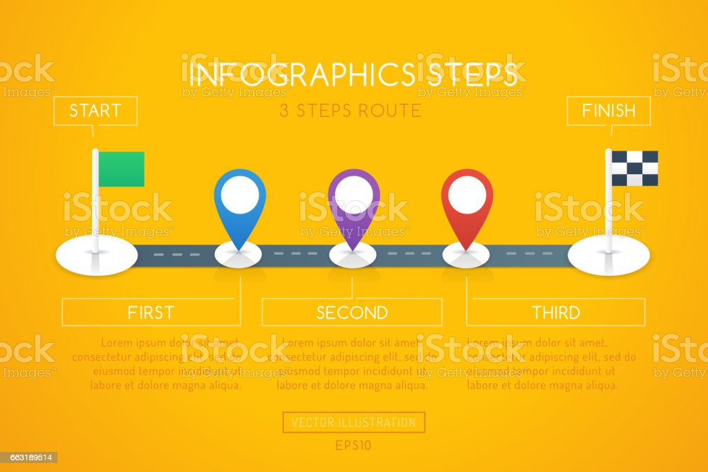 Infographics Steps Road vector art illustration