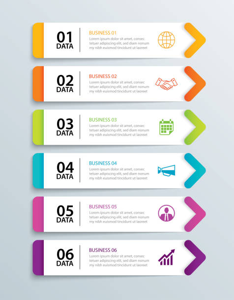 infographics tab in horizontal paper arrow with 6 data template. vector illustration abstract notebook background. can be used for workflow layout, business step, banner, web design. - вертикальный stock illustrations