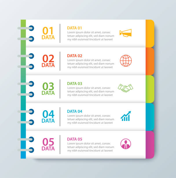 Infographics tab in horizontal paper index with 5 data template. Vector illustration abstract notebook background. Can be used for workflow layout, business step, banner, web design. Infographics tab in horizontal paper index with 5 data template. Vector illustration abstract notebook background. Can be used for workflow layout, business step, banner, web design. agenda stock illustrations