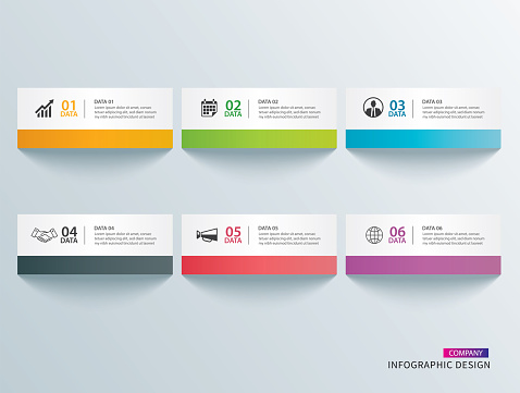 Infographics tab in horizontal paper index with 6 data template. Vector illustration abstract background. Can be used for workflow layout, business step, banner, web design.