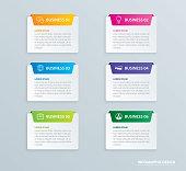 Infographics tab paper index with 6 data template. Vector illustration abstract background. Can be used for workflow layout, business step, banner, web design.