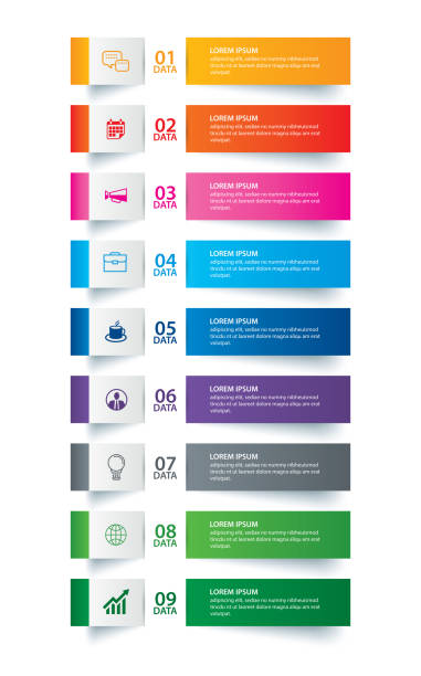 Infographics tab paper index with 9 data template. Vector illustration abstract background. Can be used for workflow layout, business step, banner, web design. Infographics tab paper index with 9 data template. Vector illustration abstract background. Can be used for workflow layout, business step, banner, web design. vertical stock illustrations