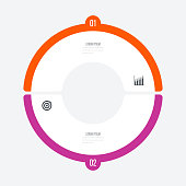 Infographics template 2 options with circle. Data and information visualization. Dynamic infographics stylish geometric. element for design business invitations, gift cards, flyers and brochures