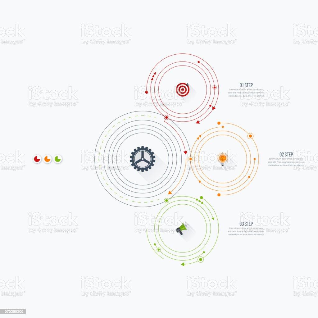 Options de modèle 3 infographie avec cercle options de modèle 3 infographie avec cercle – cliparts vectoriels et plus d'images de abstrait libre de droits