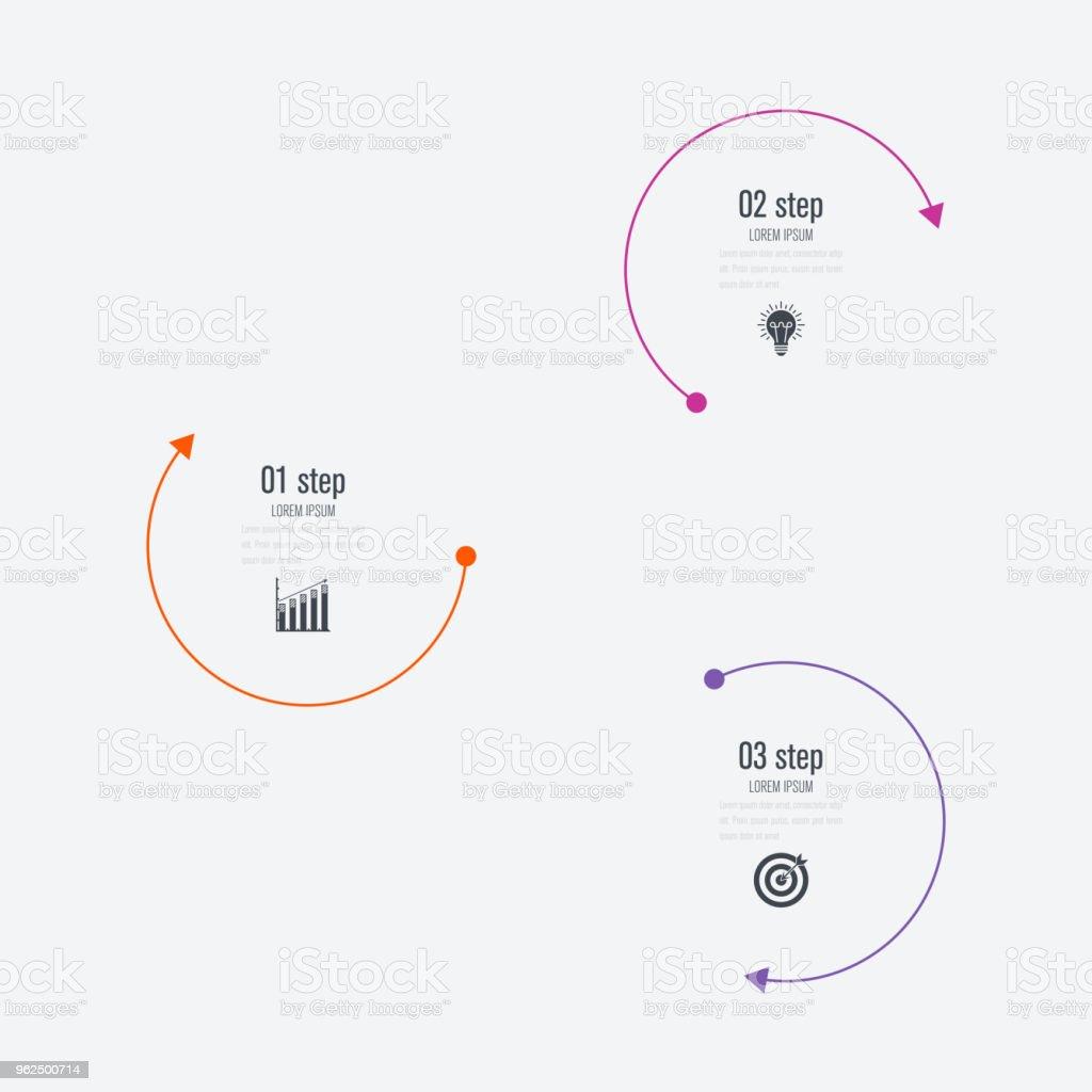 Opções de modelo 3 infográficos com círculo - Vetor de Abstrato royalty-free