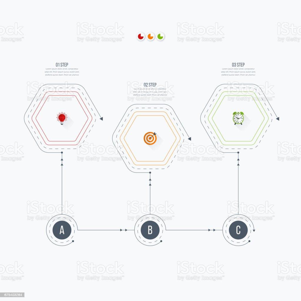 Options de modèle 3 infographie avec hexagone options de modèle 3 infographie avec hexagone – cliparts vectoriels et plus d'images de abstrait libre de droits