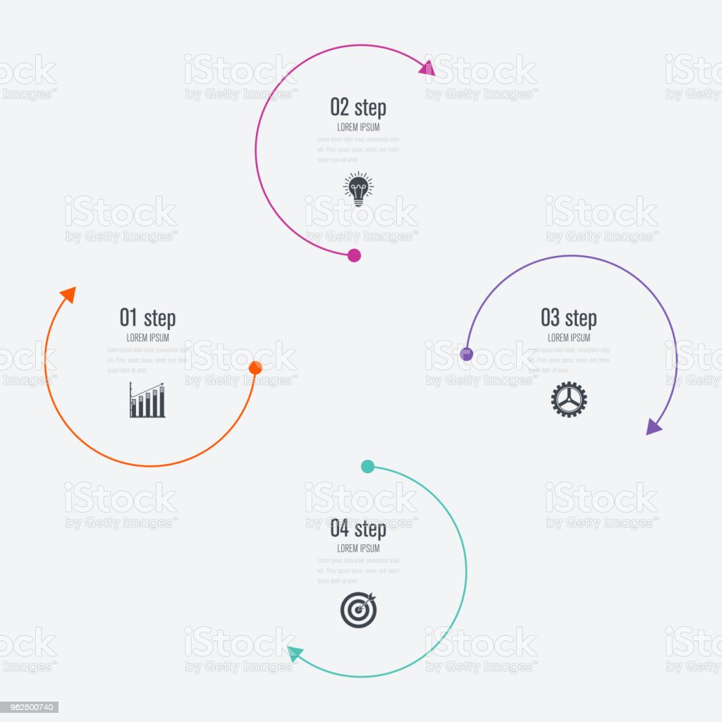 Infographics template 4 options with circle - Royalty-free Abstract stock vector