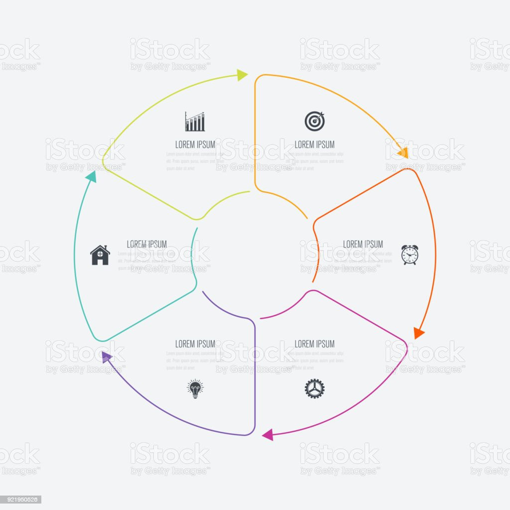 Infographics template 6 options with circle vector art illustration