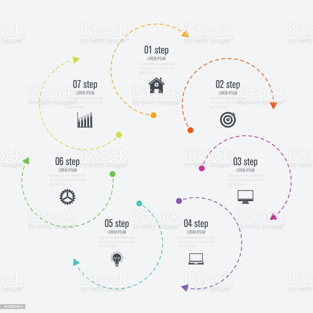 Ilustración de Opciones De Plantilla 7 Infografías Con Círculo y más ...