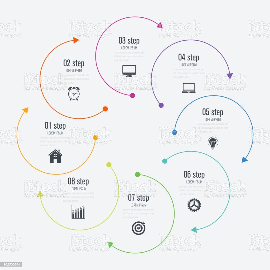 Opções de modelo 8 infográficos com círculo - Vetor de Abstrato royalty-free