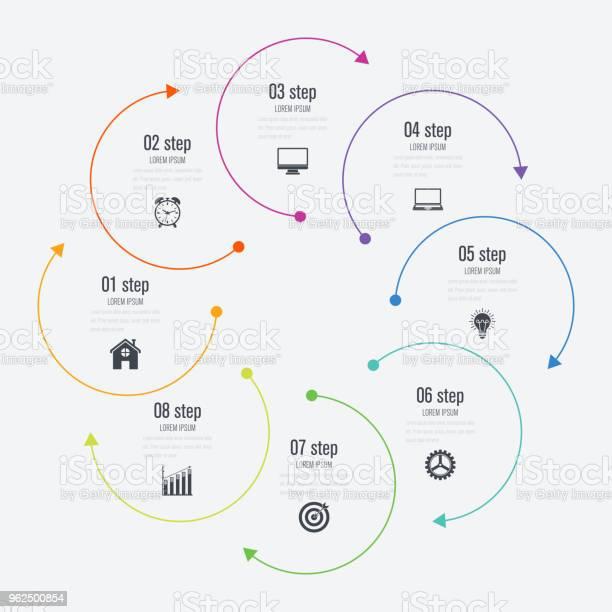 Vetores de Opções De Modelo 8 Infográficos Com Círculo e mais imagens de Abstrato