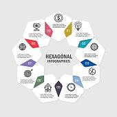 istock Infographics template 9 options with hexagonal 1294439010