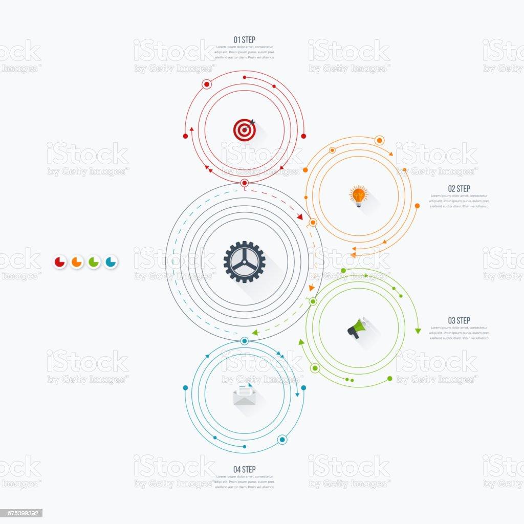 Infographics şablon dört daire seçenekleriyle royalty-free infographics şablon dört daire seçenekleriyle stok vektör sanatı & basamak'nin daha fazla görseli