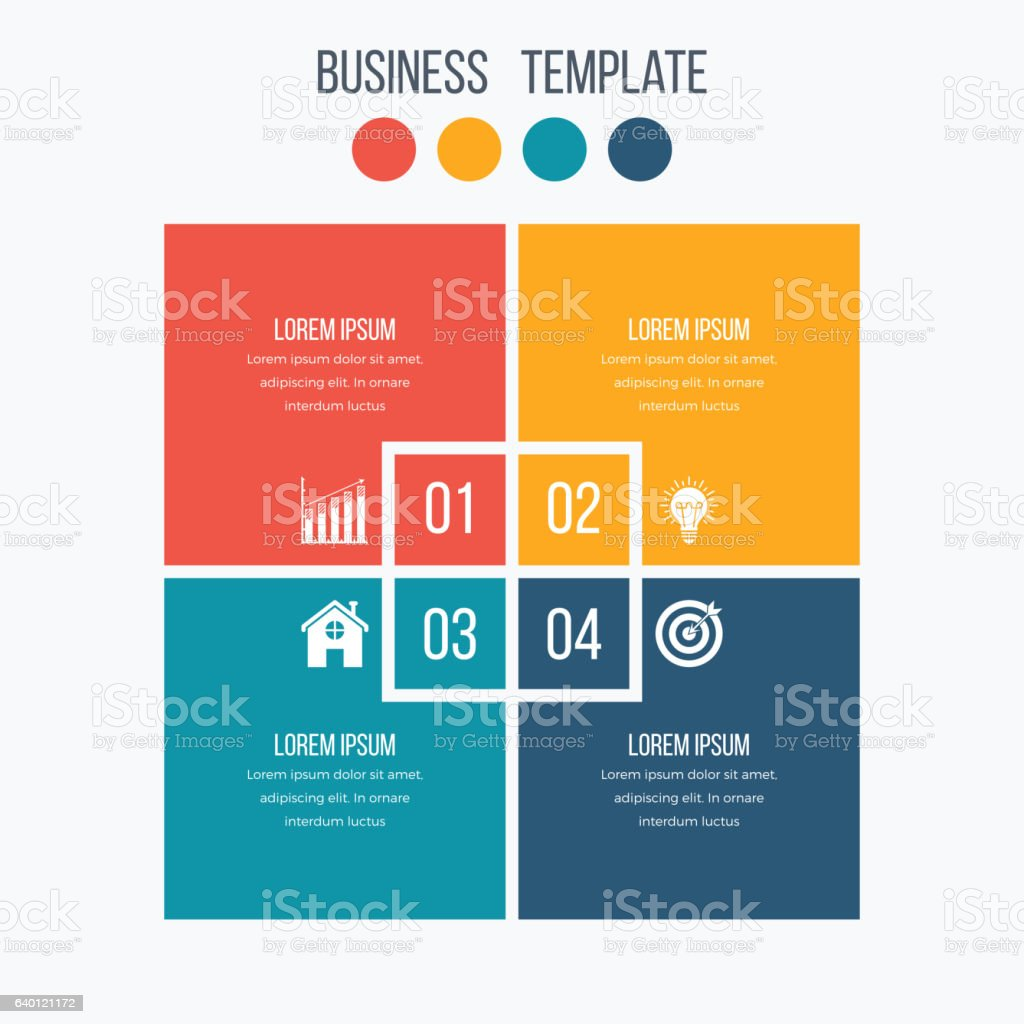 Infographics Template Four Options With Square Stock Vector Art ...