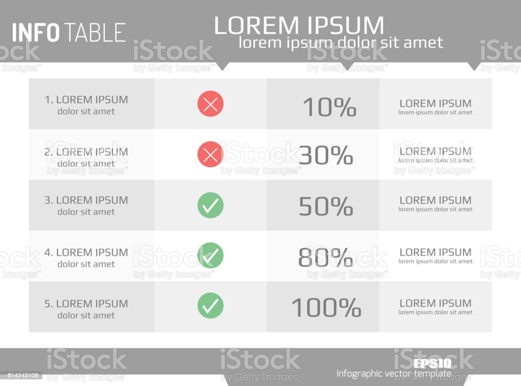 Infographics template, options, steps, rows, column, graph.  table background vector art illustration