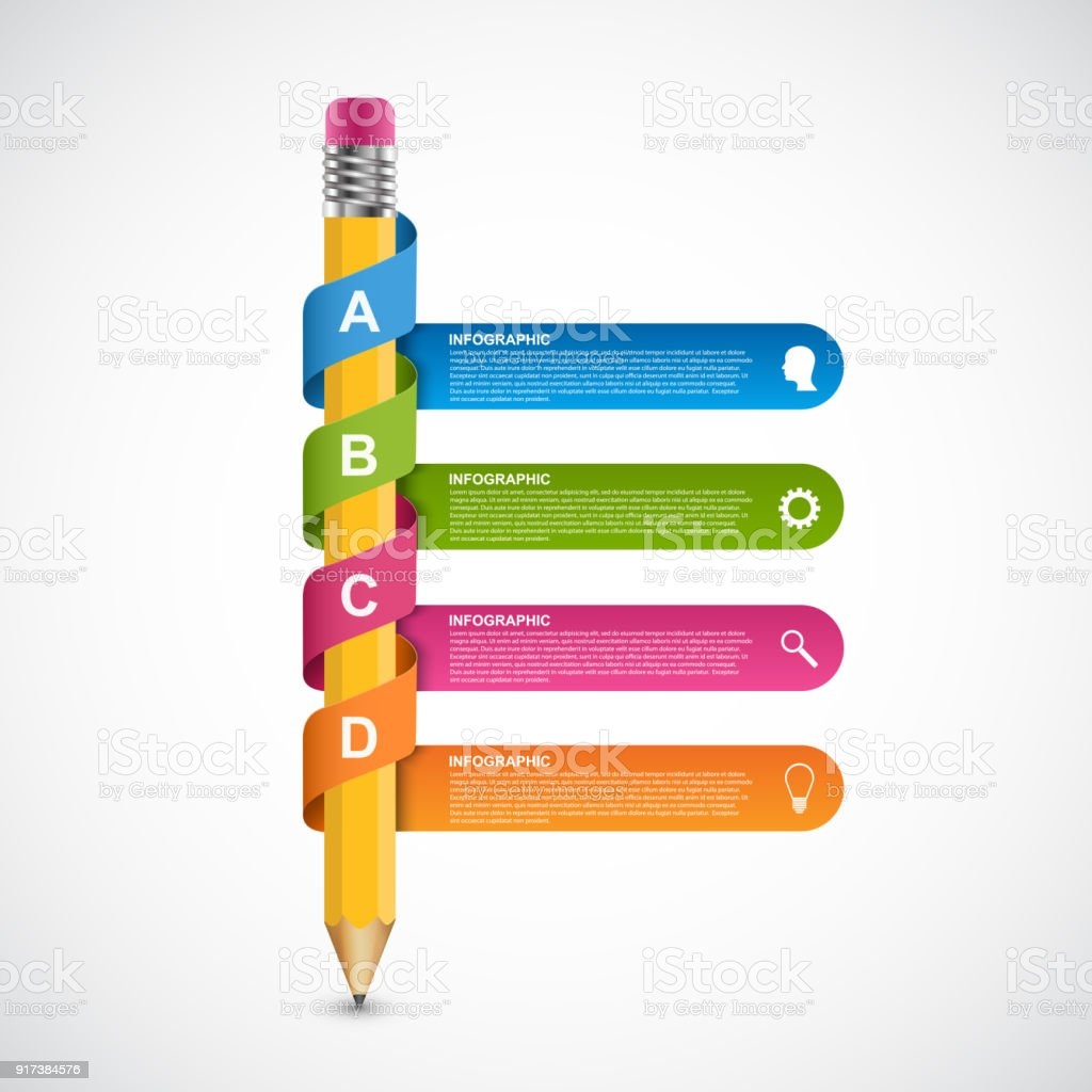 Infographics template. Pencil with colored ribbons. vector art illustration