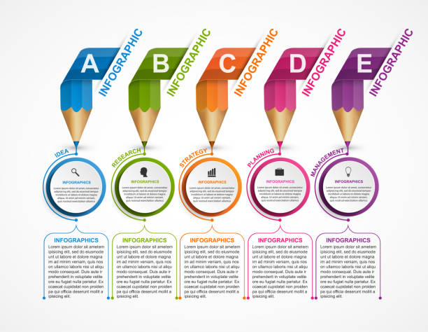 Infographics template with colored pencil in the form of ribbons. vector art illustration