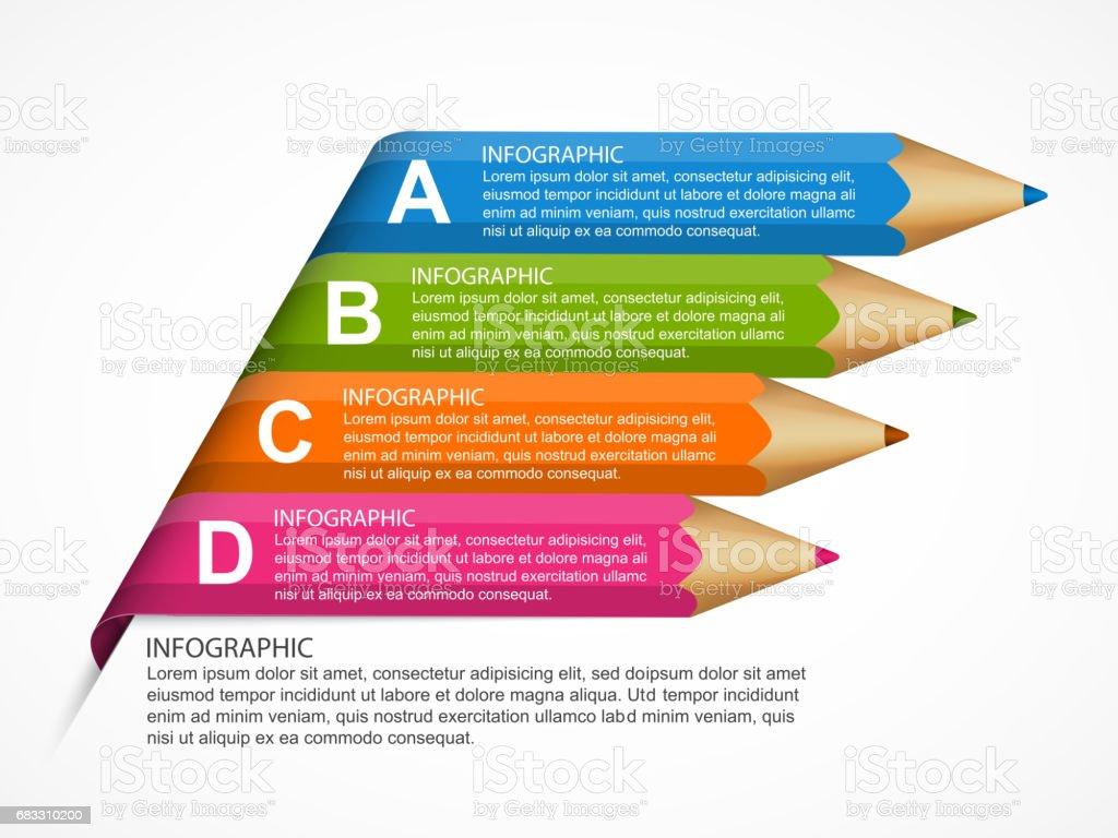 Infographics mall med penna. Infografik för företagspresentationer eller informationsbanner. royaltyfri infographics mall med penna infografik för företagspresentationer eller informationsbanner-vektorgrafik och fler bilder på abstrakt