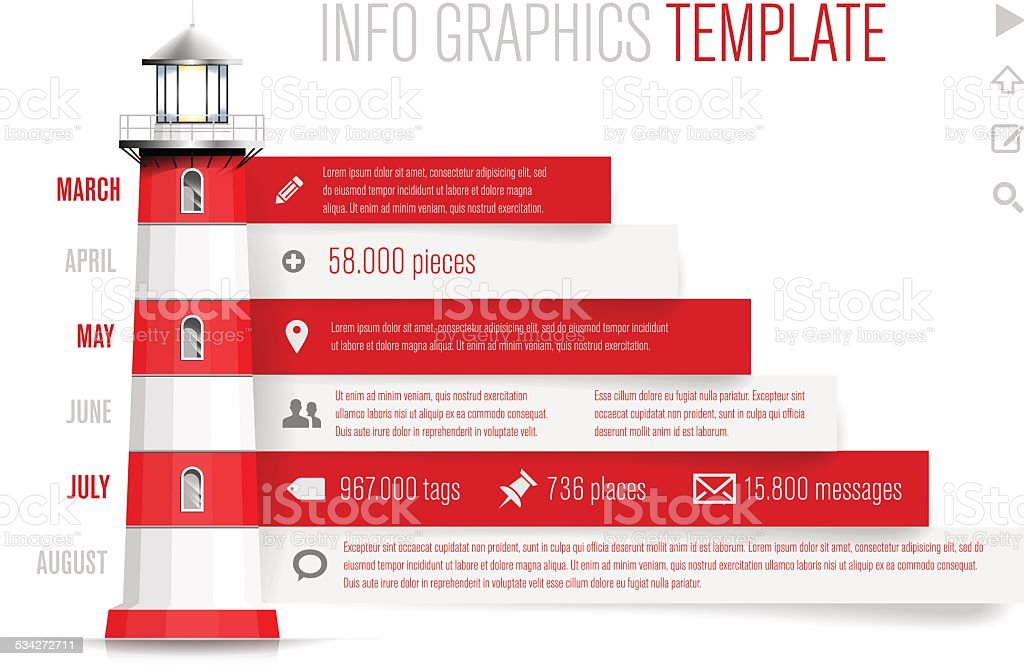 Infographics template with red-white lighthouse vector art illustration