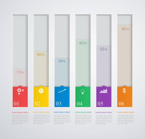 stockillustraties, clipart, cartoons en iconen met infographics template with stepwise structure, 3d columns of growth - financieel item