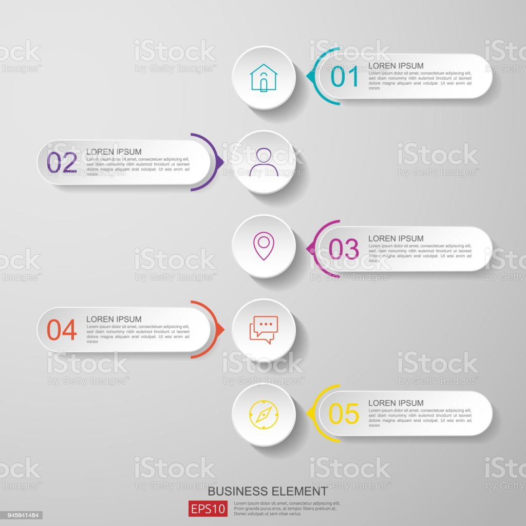 Infographics Timeline Design Template Vector With 3d Paper Label ...