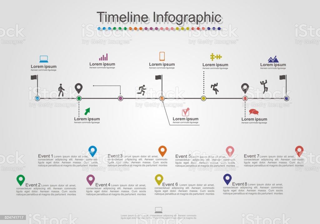 Infographics timeline element layout. Vector vector art illustration