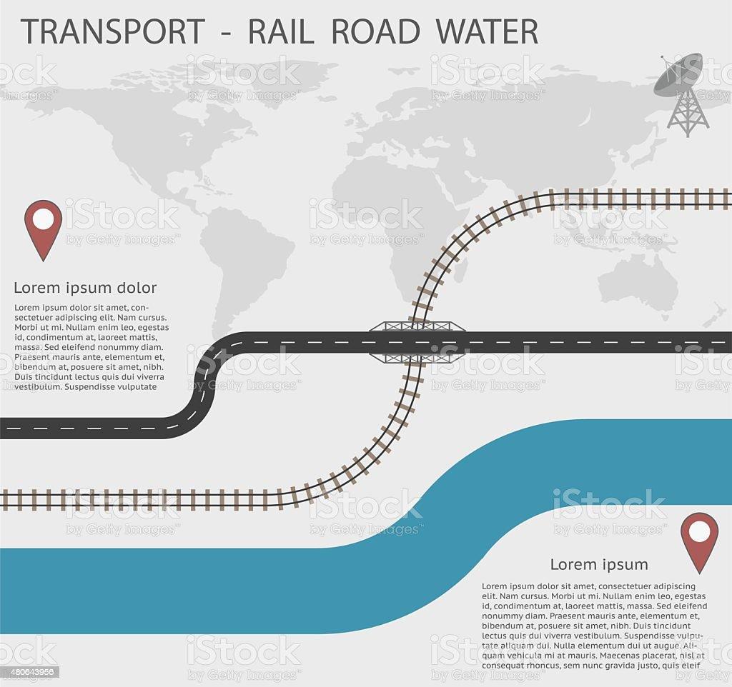 Infografiken Transport auf Schiene und Wasser EPS10 Road – Vektorgrafik