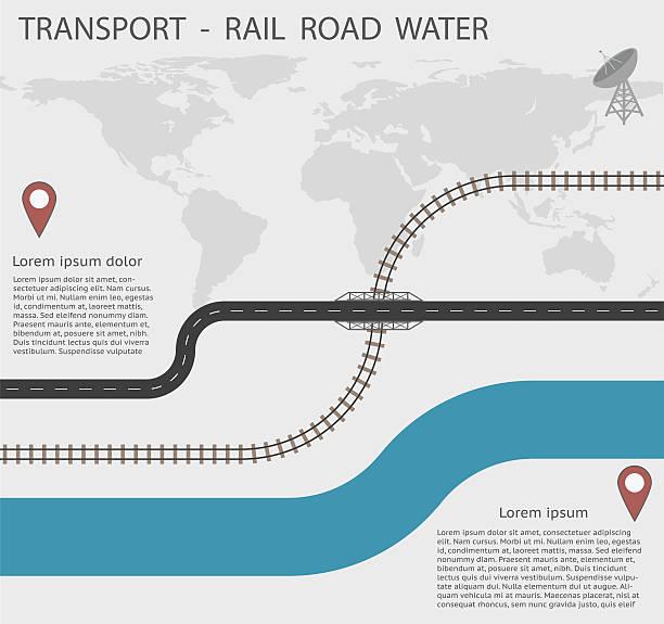 illustrations, cliparts, dessins animés et icônes de infographies transport rail road et de l'eau pour eps10 - voie ferrée