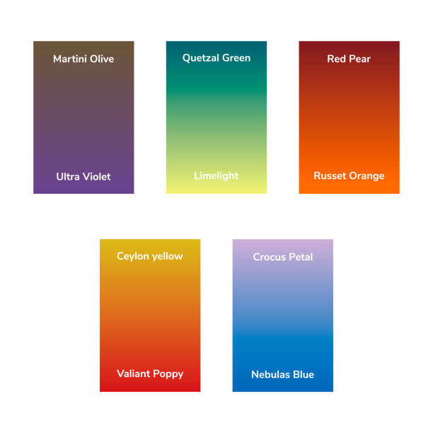 infographics, trendy fashion colors of the 2018 fall, winter, gradient. Martini Olive, Quetzal Green, Red Pear, Ultra Violet, Limelight, Russet Orange, Ceylon yellow, Crocus Petal, Valiant Poppy vector art illustration