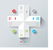 Infographics vector design template featuring four icons
