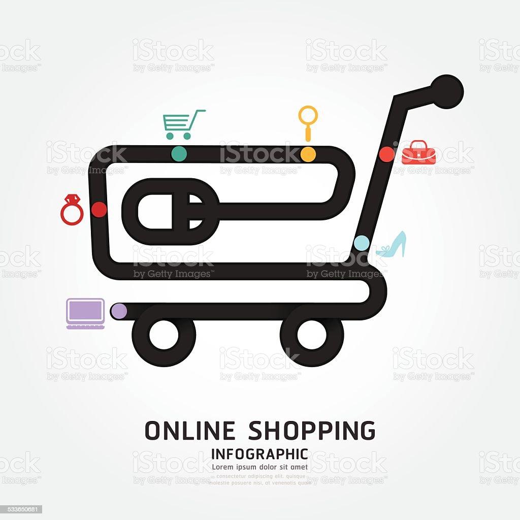infographics vector online shopping design diagram line style te vector art illustration