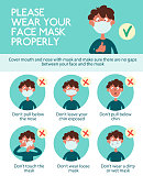 istock Infographics. Wear your face mask properly 1273476709