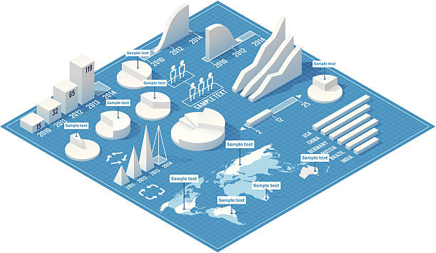 A 3D infographics with charts on a blue background vector art illustration