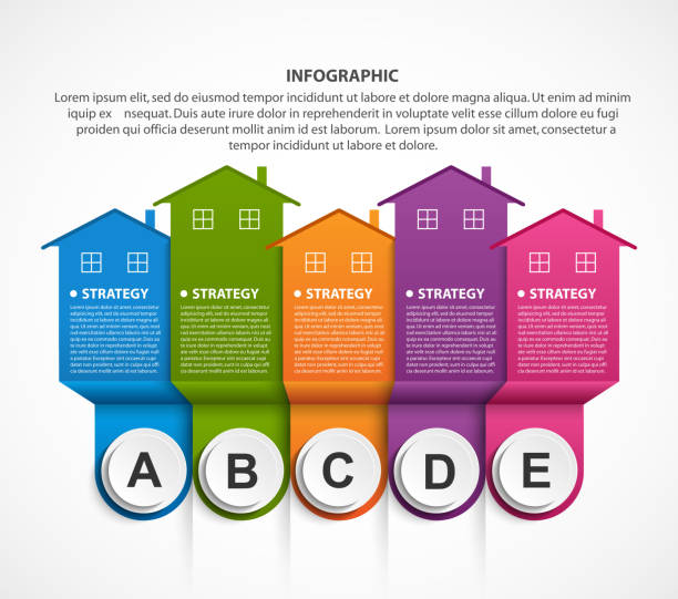 Infographics with colorful houses. For the presentation or advertising brochures. vector art illustration