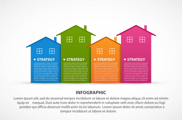 Infographics with colorful houses. For the presentation or advertising brochures. Vector illustration. vector art illustration